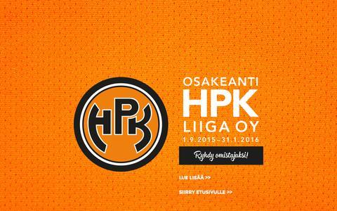 Screenshot of Home Page hpk.fi - Hämeenlinnan Pallokerho  — Kovalla tunteella - captured Sept. 16, 2015