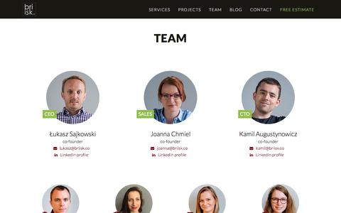 Screenshot of Team Page briisk.co - AngularJS & Ruby on Rails web software - captured Oct. 11, 2017