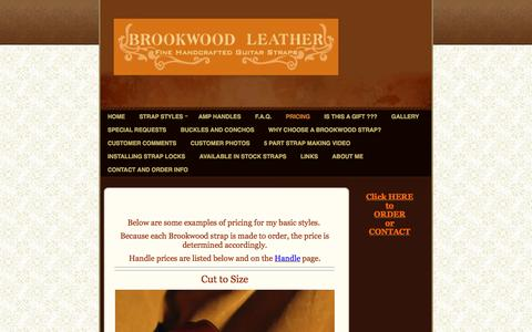 Screenshot of Pricing Page brookwoodleather.com - Brookwood Leather - Click HERE to ORDERor CONTACT - captured June 15, 2016
