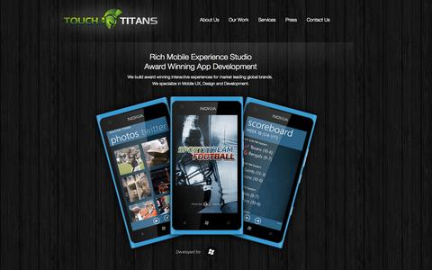 Screenshot of Home Page touchtitans.com - Touch Titans  -  Mobile Experience Studio - captured Oct. 7, 2014