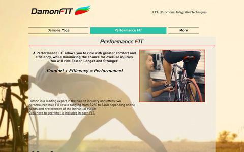 Screenshot of Services Page damonfit.com - performance bike fitting - captured June 3, 2017