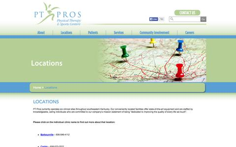 Screenshot of Contact Page Locations Page ptpros.net - PT Pros  | Locations - captured Oct. 22, 2014