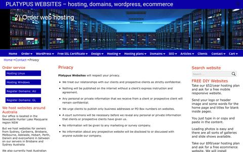 Screenshot of Privacy Page platywebs.com.au - Privacy | PLATYPUS WEBSITES - hosting, domains, wordpress, ecommerce - captured July 1, 2018