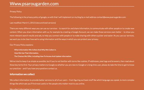 Screenshot of Privacy Page psarougarden.com - Contact. Page on Contactwww.psarougarden.com - captured Oct. 24, 2018