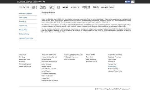 Screenshot of Privacy Page padini.com - Padini Holdings Berhad - captured Oct. 1, 2014