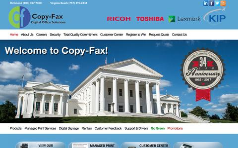 Screenshot of Home Page copyfaxva.com - Copiers, AVAya IP Office Phones, Lexmark Printers, Document Management, Richmond, VA - captured April 13, 2017