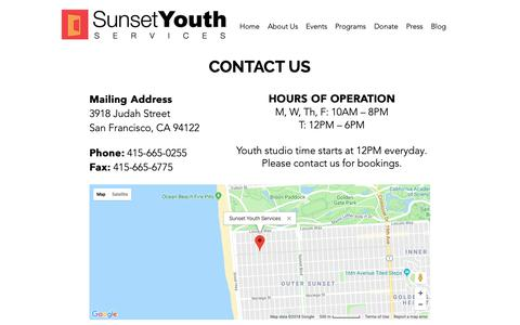 Screenshot of Contact Page sunsetyouthservices.org - SunsetYouthServices | Contact Us - captured Nov. 7, 2018