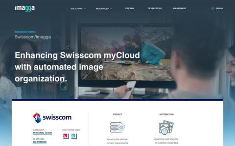 Screenshot of Case Studies Page imagga.com - Case-study: Enhancing Swisscom myCloud with automated image organization. | Imagga Technologies Ltd. - captured June 21, 2018