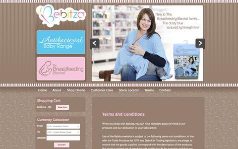 Screenshot of Terms Page bebitza.com captured Oct. 5, 2014
