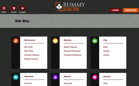 Screenshot of Site Map Page rummyshow.com - Site Map | Rummy Show - captured Aug. 15, 2016