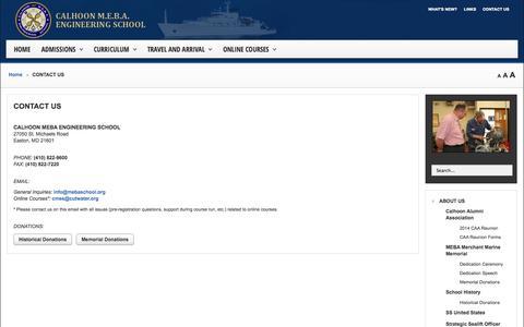 Screenshot of Contact Page mebaschool.org - CONTACT US - Calhoon MEBA Engineering School - captured Oct. 1, 2014