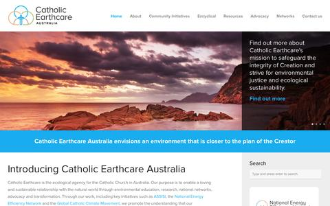 Screenshot of Home Page catholicearthcare.org.au - Catholic Earthcare Australia Catholic Earthcare Australia - Caring for Creation - captured June 17, 2015