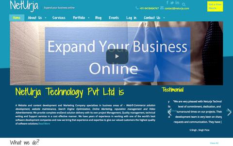 Screenshot of Home Page neturja.com - Website development, Designing and video creation company in nahan, Himachal | Neturja technology - captured Oct. 10, 2014