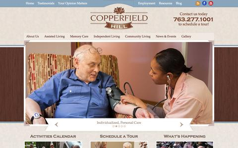 Screenshot of Home Page copperfieldhill.com - Comfortable & Personalized Senior Housing | Assisted Living, Memory Care, Independent Living, Respite Care - captured Oct. 3, 2014