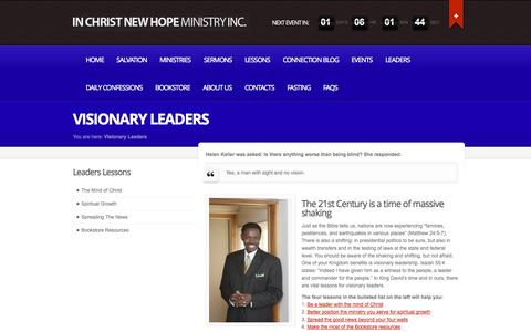 Screenshot of Team Page icnhm.org - Visionary Leaders » In Christ New Hope Ministry, Inc. - captured Oct. 6, 2014