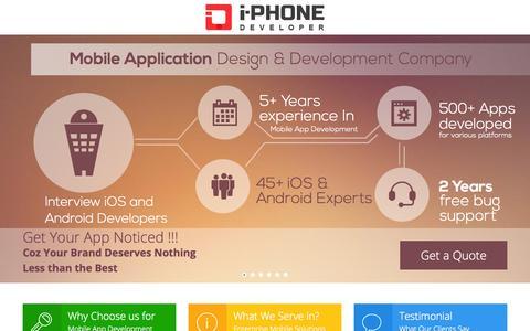 Screenshot of Home Page i-phonedeveloper.com - Mobile App Development and App Design Company Chicago USA - captured Sept. 24, 2014