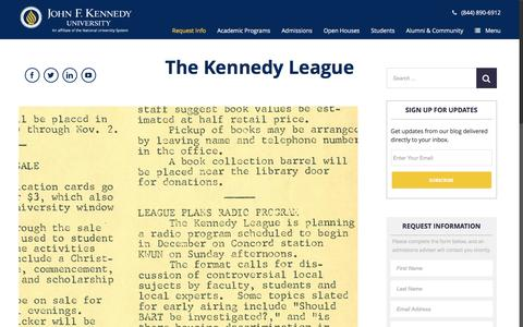Screenshot of Blog jfku.edu - The Kennedy League - captured Nov. 27, 2016