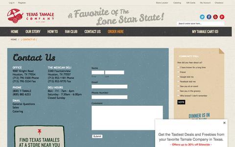 Screenshot of Contact Page texastamale.com - Texas Tamale Company  | Contact Us |  Houston, TX - captured Feb. 25, 2016