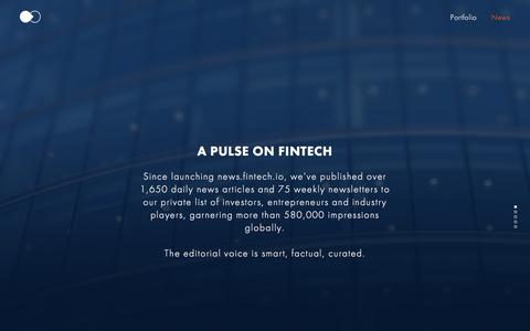 Screenshot of Press Page fintech.io - FinTech Collective - Early Stage Venture Capital - captured Feb. 10, 2016