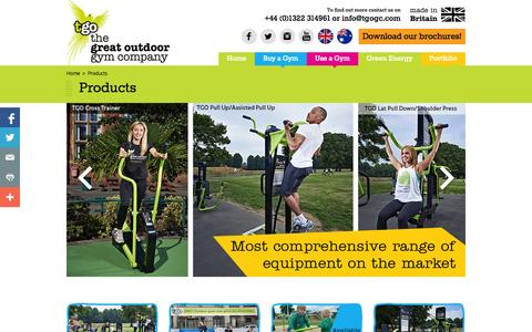 Screenshot of Products Page tgogc.com - Products : The Great Outdoor Gym Company Ltd - captured Oct. 27, 2014