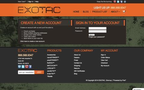 Screenshot of Login Page exotac.com - Exotac - Sign in - captured Oct. 3, 2014