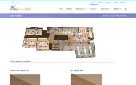 Screenshot of Case Studies Page ecosnlighting.com - Case studies - LED Lighting | Commercial Lighting | Energy Saving Solutions - captured May 12, 2017
