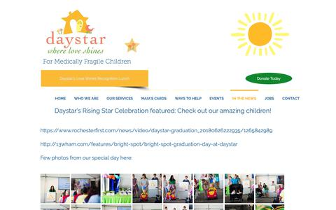 Screenshot of Press Page daystarkids.org - Daystar Kids - Where Love Shines | IN THE NEWS - captured Oct. 7, 2018