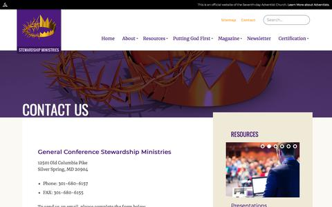 Screenshot of Contact Page adventist.org - Adventist Stewardship | Contact Us - captured June 29, 2018