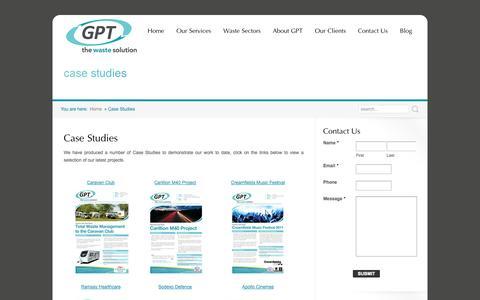 Screenshot of Case Studies Page gptwaste.com - Waste Management Case Studies | Waste Solution Case Studies | GPT Waste - captured Oct. 1, 2014