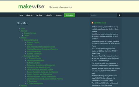 Screenshot of Site Map Page makewise.com - Makewise LLC     Site Map - captured Sept. 30, 2014