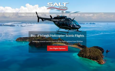 Screenshot of Home Page saltair.co.nz - Bay of Islands Helicopter & Aeroplane Scenic Flights, Northland NZ - captured Nov. 6, 2018
