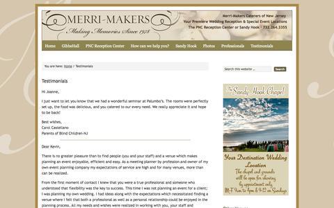Screenshot of Testimonials Page merrimakers.com - Testimonials | Merri-Makers Caterers - captured Oct. 27, 2014