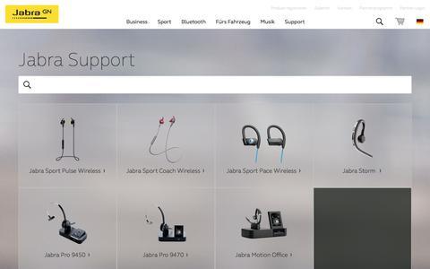 Screenshot of Support Page jabra.com.de captured Sept. 8, 2016