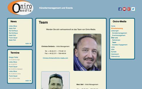 Screenshot of Team Page oniro-media.com - Team – Oniro-Media - captured Oct. 19, 2018