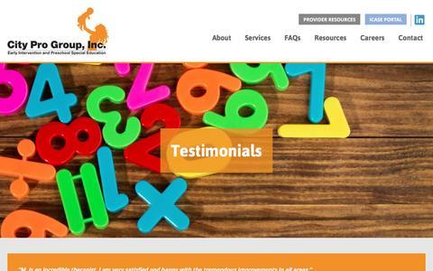 Screenshot of Testimonials Page cityprogroup.com - Testimonials - City Pro Group - captured Dec. 9, 2015