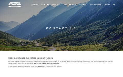 Screenshot of Contact Page towergate.com - Contact us - Towergate Insurance Brokers - captured Sept. 25, 2018