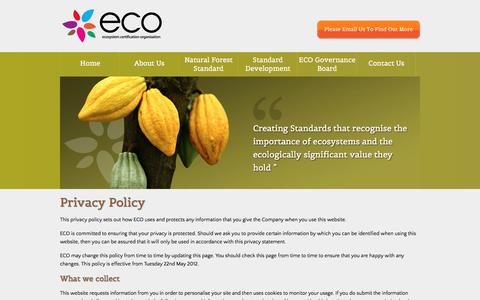 Screenshot of Privacy Page ecosystemcertification.org - eco - ecosystem certification organisation - captured Oct. 24, 2016