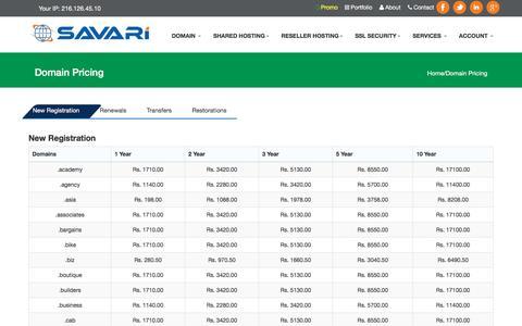 Screenshot of Pricing Page savari.co.in - Domain Pricing, Domain registration | Savari - captured Nov. 19, 2016