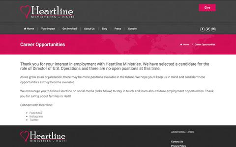 Screenshot of Jobs Page heartlineministries.org - Heartline Ministries – Haiti |        Career Opportunities - captured July 18, 2018