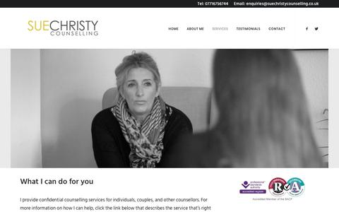 Screenshot of Services Page suechristycounselling.co.uk - Services – Sue Christy Counselling - captured Nov. 10, 2017