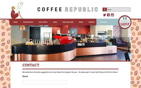 Screenshot of Contact Page coffeerepublic.co.uk - Contact us --  Coffee Republic - captured Dec. 10, 2015