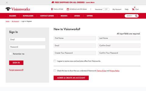 Screenshot of Login Page visionworks.com - Visionworks | Designer Eyeglass Frames and Eye Care Center - captured Feb. 5, 2018
