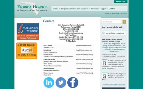 Screenshot of Contact Page floridahospices.org - Contact | Florida Hospice & Palliative Care Association - captured Oct. 14, 2017