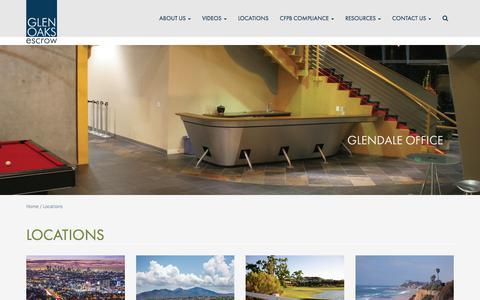 Screenshot of Locations Page glenoaksescrow.com - Locations - Glen Oaks Escrow - captured Aug. 30, 2018