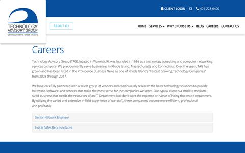Screenshot of Jobs Page techadvisory.com - Careers - Warwick, Cranston, East Greenwich | Technology Advisory Group - captured Oct. 20, 2018