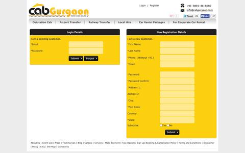 Screenshot of Login Page cabgurgaon.com - Login, sign up, register account for car rental services - captured Oct. 1, 2014