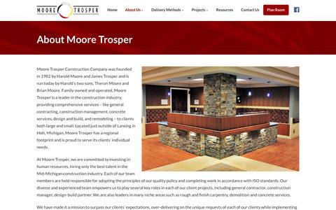 Screenshot of About Page mooretrosper.com - About | Moore Trosper Construction Co., Holt - Lansing, MI - captured Dec. 13, 2016