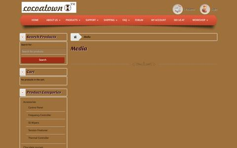 Screenshot of Press Page cocoatown.com - Media - Enabling chocolate makers affordablyEnabling chocolate makers affordably - captured Dec. 10, 2015