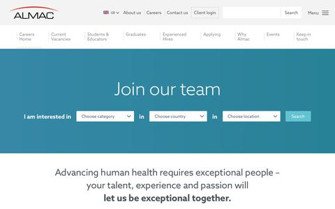 Screenshot of Jobs Page almacgroup.com - Careers - Almac - captured Oct. 30, 2019