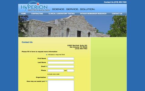 Screenshot of Contact Page hyperionbiotechnology.com - Contact Us | Hyperion Biotechnology - captured Oct. 3, 2014
